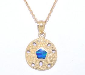 14K Yellow Gold Opal Sanddollar Pendant 52001626