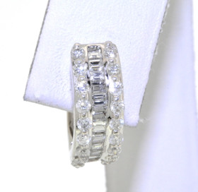 14K White Gold Diamond Baguette & Round Single Huggie Earring 41060701