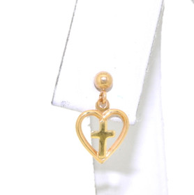 14K Yellow Gold Single Cross-In-Heart  Dangle Earring 40001924