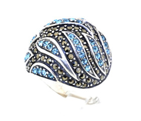 Sterling Silver Blue Topaz and Marcasite Ring 81010221