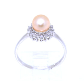 14k White Gold Pearl Ring 12002293