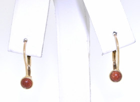14K Yellow Gold Gold stone Leverback Earrings