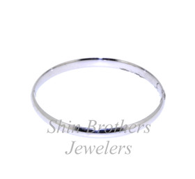 "14K White Gold 5"" Baby Bangle 23000113"