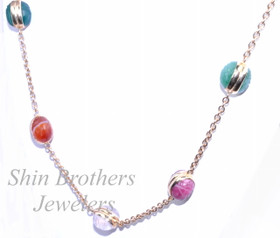 "14K Yellow Gold 24"" Multicolored Stone Chain Necklace 32000237"