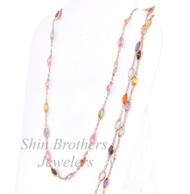 "14K Yellow Gold 24"" Multicolored Gemstone Chain Necklace 32000097"