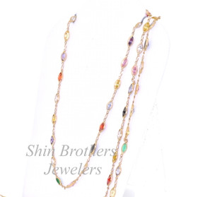 "14K Yellow Gold 28"" Multicolored Gemstone Chain Necklace 32000088"