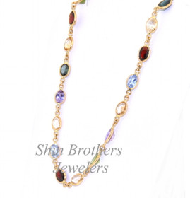 """18K Yellow Gold 18"""" Multicolored Gemstone Chain Necklace 32000258"""