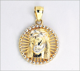 14K Yellow Gold Jesus Face With Ball Rimming 50001276