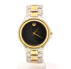 Preowned Men's Movado Museum Two Tone Stainless Steel Black Face Wrist Watch 69000098