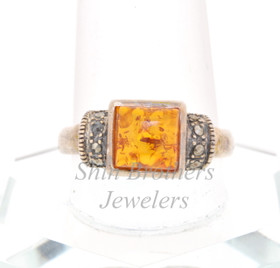 Sterling Silver Amber and Marcasite Ring 81010322