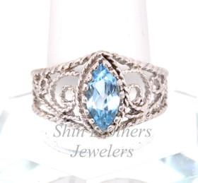 Sterling Silver Blue Topaz Antique Ring 81010311