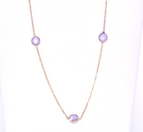 14k Yellow Gold Single Amethyst Chain Necklace 32000022
