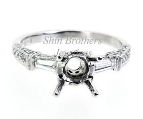 18K White Gold 0.6 ct Diamond Engagement Ring Setting
