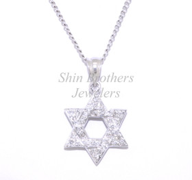 14K White Gold Diamond Star of David Charm 51001688