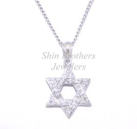 14K White Gold Diamond Star of David Charm 51001688