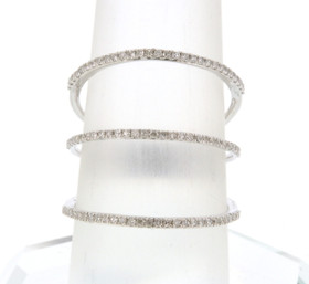 18K White Gold Extended Diamond Three-Thin Band Ring