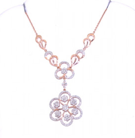 14K Pink Gold 0.45ct.Diamond Drop Flower Necklace 31000529