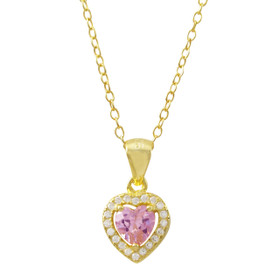 Pink CZ Center, Gold Plated Sterling Silver CZ Heart Pendant On Chain