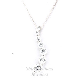"Sterling Silver 18"" Cz Journey Necklace 83010507"