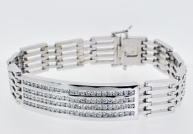 14K White Gold Diamond Men's Link Bracelet 21000296