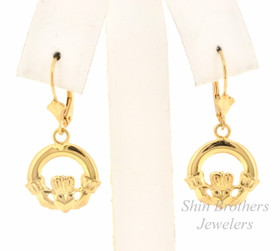 14K Yellow Gold Hanging Claddagh Earrings    40001979