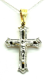 14k White And Yellow Gold Crucifix Charm 51001058