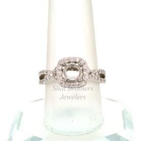 14K White Gold Diamond Criss cross Band Engagement Ring Setting