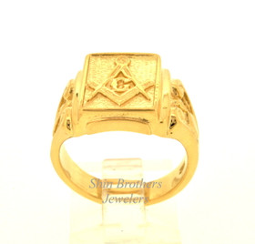 14K Yellow Gold Masonic Ring   10017006