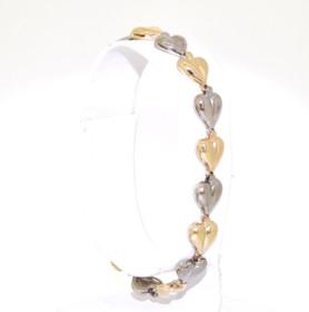 14K Two Tone Heart White Yellow Bracelet  20001303