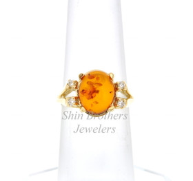 14K Yellow Gold Diamond/Amber Ring 12002417