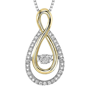 """Sterling Silver/Gold Diamond Rhythm of Love Pendant With 18"""" Chain #ROL1082"""