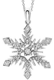 Sterling Silver Diamond Rhythm of Love Snowflake Pendant #ROL1087