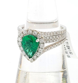 18K White Gold Zambian Emerald and Diamond Ring