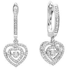 Sterling Silver Rhythm of Love CZ Heart Earrings 84010351