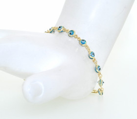 "14K Yellow Gold 6"" Dark Blue Evil Eye Bracelet"