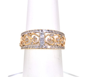 14K Yellow Gold Diamond Heart Band 11004076