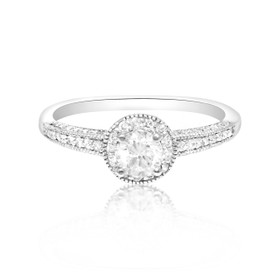 14K White Gold EGL Certified Diamond Engagement Ring