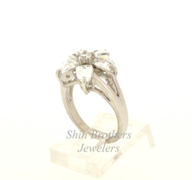 Sterling Silver Floral Cubic Zirconia Ring