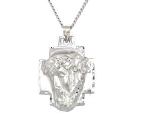 Solid 14K White Gold Christ Head Diamond Cut Charm 50002963