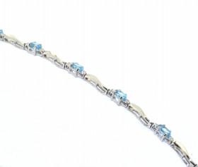 10K White Gold 2.50ctw Blue Topaz and Diamond Bracelet 22000653