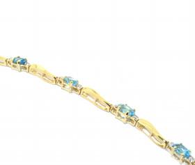 10K Yellow Gold 2.50ctw Blue Topaz and Diamond Bracelet 22000654