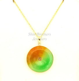 14K Yellow Gold Jade Good Luck Disc Pendant 52001334