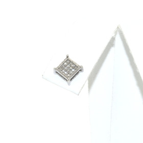 14K White Gold Invisible Set Diamond Single Earring 41110005