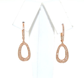 14K Pink Gold Diamond Hanging Fancy Earrings 41002038