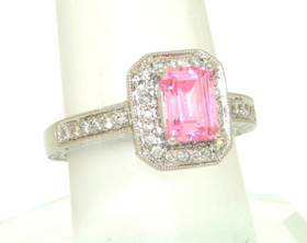 14K White Gold Diamond and Pink Quartz Ring