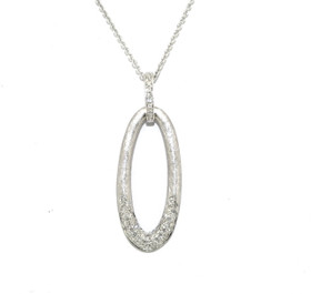 14K White Gold Oval Drop Diamond Pendant With Adjustable Chain 31000623