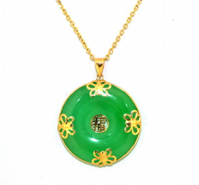 14K Yellow Gold Natural Jade Butterfly Circle Pendant 52001747