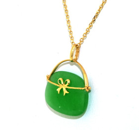 14K Yellow Gold Natural Jade Handbag Pendant 52001743