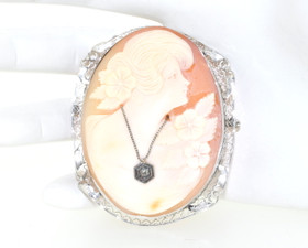 14K White Gold Cameo Pendant/Pin 52001582