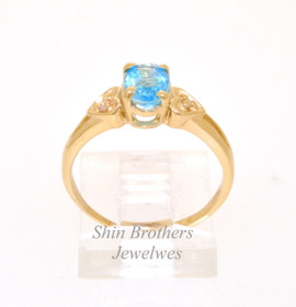 10K Yellow Gold Diamond Aquamarine  Ring 19210038